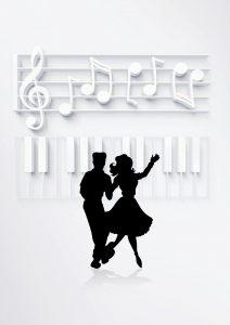 Mustavalkoinen tanssiparin silhuetti
